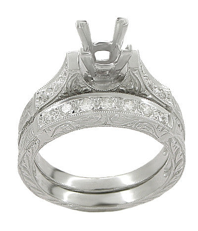 Art Deco Scrolls 1.25 Carat Princess Cut Diamond Engagement Ring Setting and Wedding Ring in 18 Karat White Gold - Item: R952 - Image: 1
