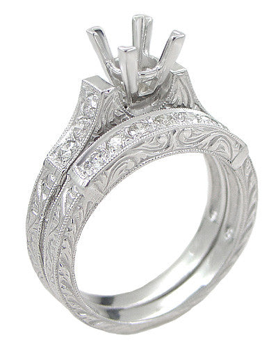 Art Deco Scrolls 1.75 Carat Princess Cut Diamond Engagement Ring Setting and Wedding Ring in 18 Karat White Gold