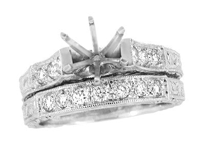 Art Deco Scrolls 1.25 Carat Diamond Engagement Ring Setting and Wedding Ring in 18 Karat White Gold - Item: R956 - Image: 2