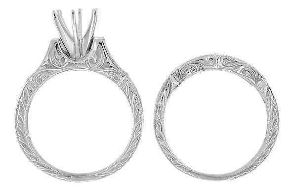 Art Deco Scrolls 1.75 Carat Diamond Engagement Ring Setting and Wedding Ring in Platinum - Item: R958P - Image: 2