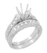 Art Deco Scrolls 2 Carat Diamond Engagement Ring Setting and Wedding Ring in 18 Karat White Gold