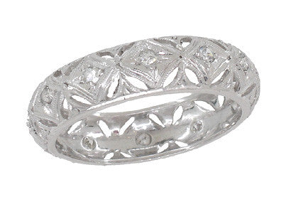 Art Deco Diamond Amesvilla Antique Wedding Band in Platinum - Size 6