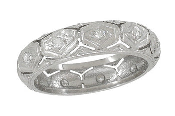 Edgewood Art Deco Antique Diamond Wedding Ring in Platinum | 4.6mm Wide | Size 4.5