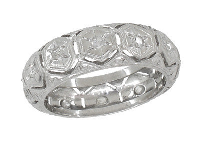 Easton Art Deco Vintage Rose Cut Diamond Wedding Band in Platinum - Size 4.5