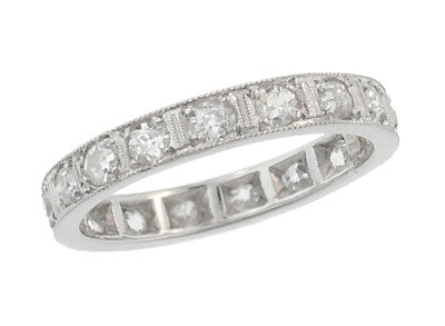 Goshen Art Deco Vintage Straightline Diamond Wedding Band - Platinum - Size 4.75