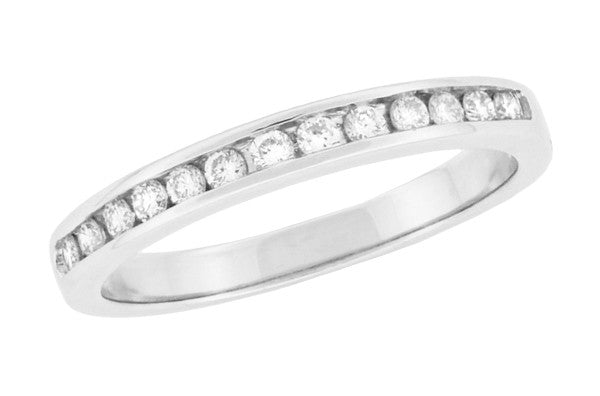 Platinum Channel Set Diamonds Estate Wedding Band