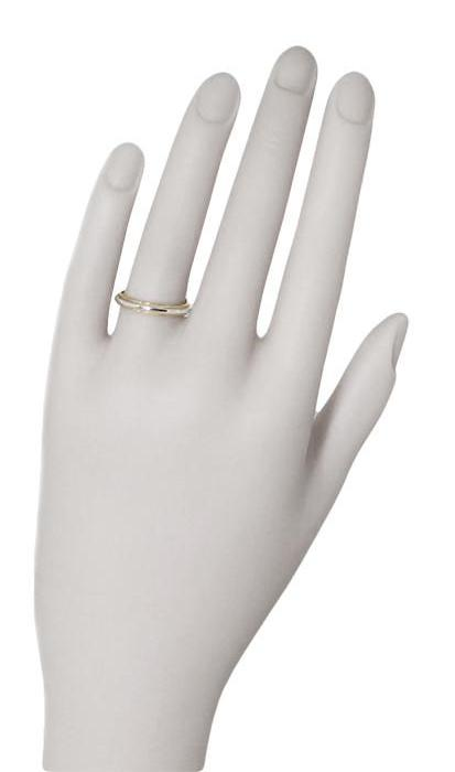 Mixed Metals Millgrain Edge Heirloom Wedding Band in Two Tone 14 Karat White and Yellow Gold - 3.5mm