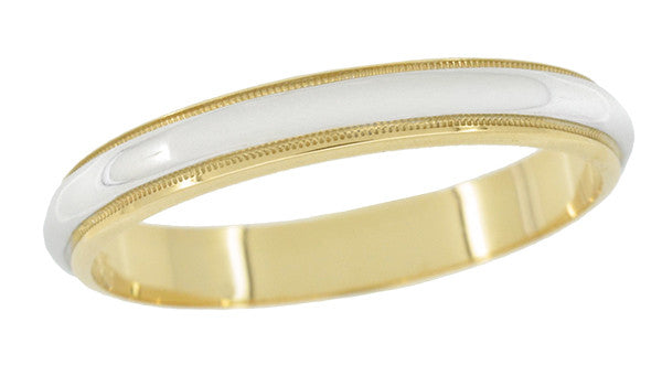 3mm Wide Millgrain Edge Vintage Wedding Band in Two Tone 14 Karat Gold