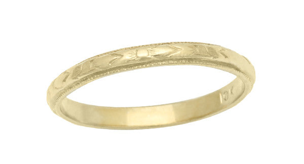 Vintage Engraved Baby Ring in 10K Yellow Gold