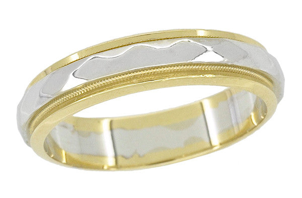 Kaleidoscope Two Tone 1950's Vintage Wedding Band in 14 Karat Yellow and White Gold