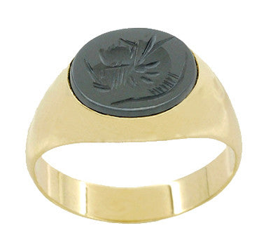 Vintage Hematite Intaglio Ring in 14 Karat Yellow Gold - Item: R974 - Image: 3