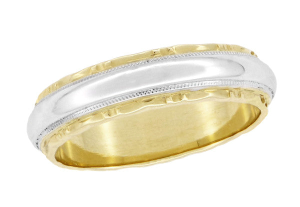 Two Tone 1930's Vintage Art Deco Wedding Band Ring with Scalloped Edges in Solid 14K Gold | Size 9