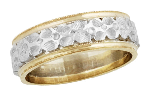 1920's Vintage Pansy Flower Wedding Ring in 14 Karat Two Tone White and Yellow Gold