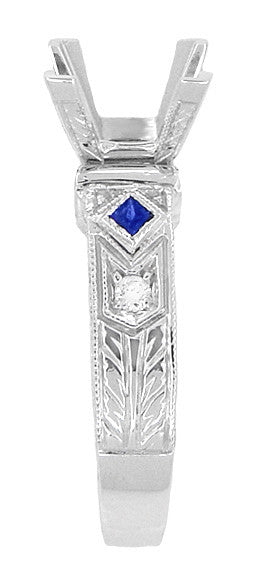 Art Deco 1 Carat Princess Cut Diamond Wheat Engraved Engagement Ring Setting in 18 Karat White Gold with Diamonds and Princess Cut Sapphires - Item: R983 - Image: 2