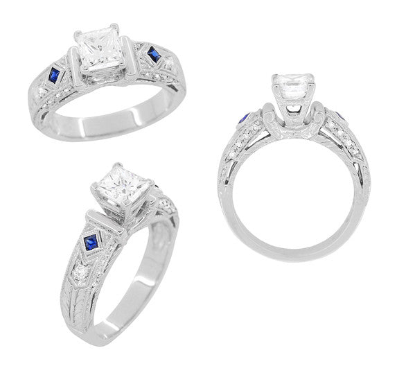 Art Deco 1 Carat Princess Cut Diamond Wheat Engraved Engagement Ring Setting in 18 Karat White Gold with Diamonds and Princess Cut Sapphires - Item: R983 - Image: 4