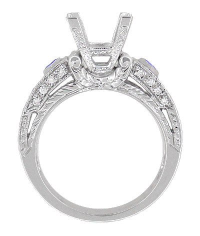 Art Deco 1 Carat Princess Cut Diamond Wheat Engraved Engagement Ring Setting in 18 Karat White Gold with Diamonds and Princess Cut Sapphires - Item: R983 - Image: 1