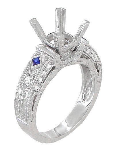 Art Deco 1 Carat Princess Cut Diamond Wheat Engraved Engagement Ring Setting in 18 Karat White Gold with Diamonds and Princess Cut Sapphires