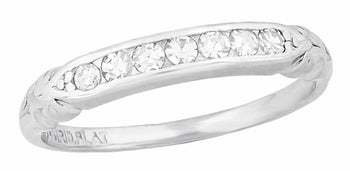 Art Deco Platinum Evia Old Single Cut Diamond Vintage Wedding Band
