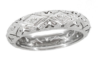 Art Deco Original Millstone Vintage Rose Cut Diamond Filigree Wedding Band in 18K White Gold - Size 6 1/4
