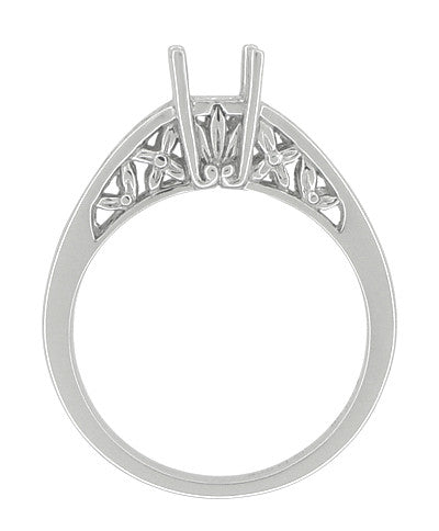 Flowers and Leaves Filigree Art Nouveau Platinum Engagement Ring Setting for a Round 3/4 - 1 Carat Diamond - Item: R988P - Image: 2