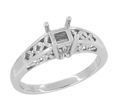 Art Nouveau Flowers and Leaves Filigree Engagement Ring Setting for a 1 Carat Princess, Radiant, or Asscher Cut  Diamond in 14 Karat White Gold