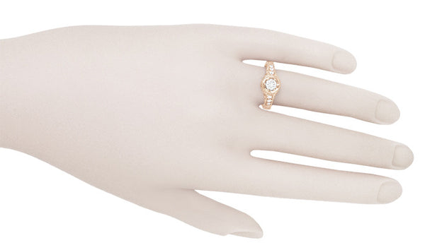 Rose Gold Art Deco Filigree Flowers & Scrolls 1/2 Carat Engraved Diamond Engagement Ring - Item: R990R50D - Image: 4