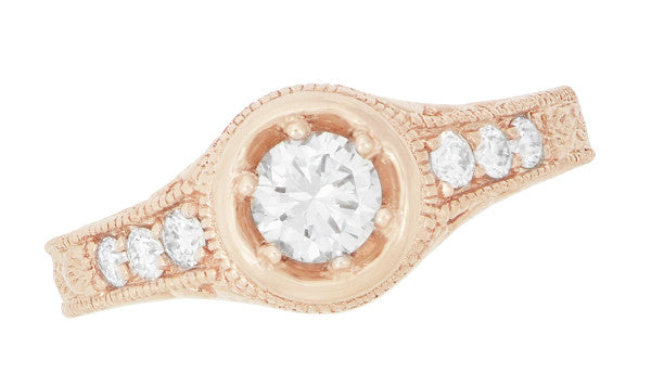 Rose Gold Art Deco Filigree Flowers & Scrolls 1/2 Carat Engraved Diamond Engagement Ring - Item: R990R50D - Image: 1