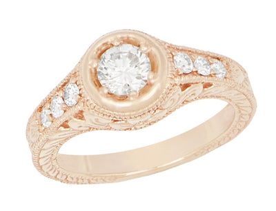 Rose Gold Art Deco Filigree Flowers & Scrolls 1/2 Carat Engraved Diamond Engagement Ring