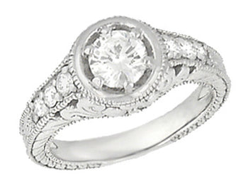 Art Deco Filigree Flowers and Scrolls Engraved 1 Carat Diamond Engagement Ring Setting in 18 Karat White Gold