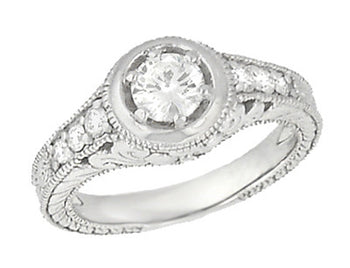 Art Deco Filigree Flowers and Scrolls Engraved 1/2 Carat Diamond Engagement Ring Setting in 18 Karat White Gold