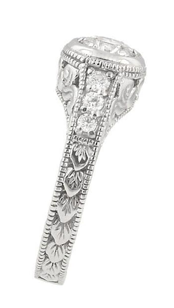 Art Deco Filigree Flowers and Scrolls Engraved 3/4 Carat Diamond Engagement Ring Setting in 18 Karat White Gold - Item: R990W18NS75 - Image: 2