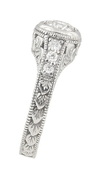 Art Deco Filigree Flowers and Scrolls Engraved Diamond Engagement Ring in 14 Karat White Gold - Item: R990W25 - Image: 2