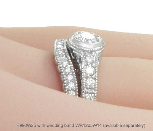 Art Deco Filigree Flowers and Scrolls Engraved Diamond Engagement Ring in 14 Karat White Gold - Item: R990W25 - Image: 6