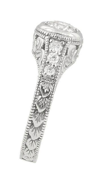 Side View Low Profile Halo Engagement Ring - Vintage Style - R990W50