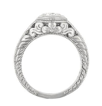 Side Floral Carved Low Profile Halo Engagement Ring - Antique Style - R990W50