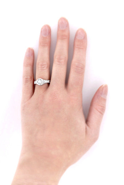 Hand View of Vintage Diamond Low Profile Engagement - R990W50