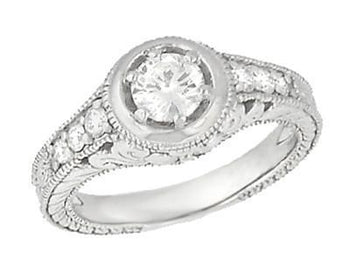 Art Deco Filigree Flowers and Scrolls Engraved 1/2 Carat Diamond Halo Engagement Ring in 14 Karat White Gold