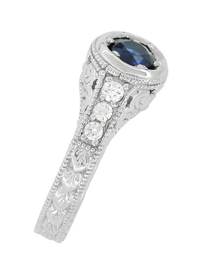 Art Deco Filigree Flowers and Scrolls Engraved Blue Sapphire and Diamond Engagement Ring in 18 Karat White Gold - Item: R990W50S - Image: 2