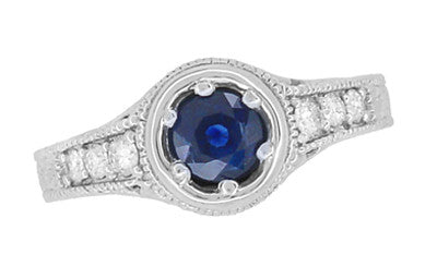 Art Deco Filigree Flowers and Scrolls Engraved Blue Sapphire and Diamond Engagement Ring in 18 Karat White Gold - Item: R990W50S - Image: 3