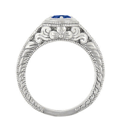 Art Deco Filigree Flowers and Scrolls Engraved Blue Sapphire and Diamond Engagement Ring in 18 Karat White Gold - Item: R990W50S - Image: 4