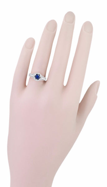 Art Deco Filigree Flowers and Scrolls Engraved Blue Sapphire and Diamond Engagement Ring in 18 Karat White Gold - Item: R990W50S - Image: 5