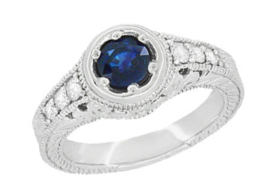 Art Deco Filigree Flowers and Scrolls Engraved Blue Sapphire and Diamond Engagement Ring in 18 Karat White Gold - Item: R990W50S - Image: 1