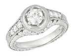 Art Deco Filigree Flowers and Scrolls Engraved 3/4 Carat Diamond Engagement Ring Setting in 14 Karat White Gold