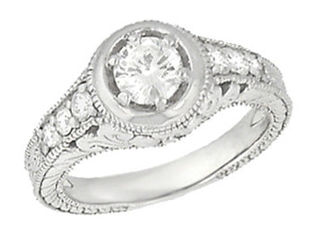 Art Deco Filigree Scrolls and Flowers Carved Low Profile 3/4 Carat Diamond Engagement Ring Setting in White Gold - 14K or 18K