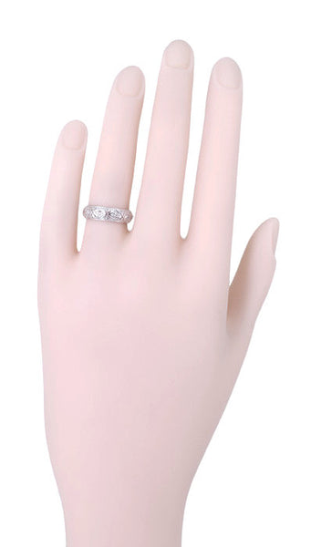 Art Deco Enfield Diamond Antique Wedding Ring in Platinum - Size 5 - Item: R991 - Image: 1