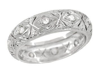Art Deco Enfield Diamond Antique Wedding Ring in Platinum - Size 5