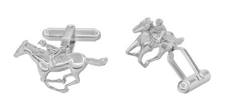 Race Horse and Jockey Cufflinks in Sterling Silver - Item: SCL145 - Image: 1