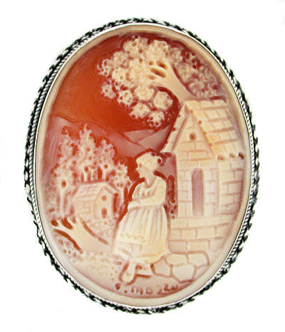 """Rebecca at the Well"" Carnelian Shell Cameo Pin or Pendant in Sterling Silver"