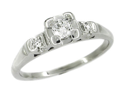 Retro Moderne Fishtail Box Vintage Old European Cut Diamond Engagement Ring - 14 Karat White Gold
