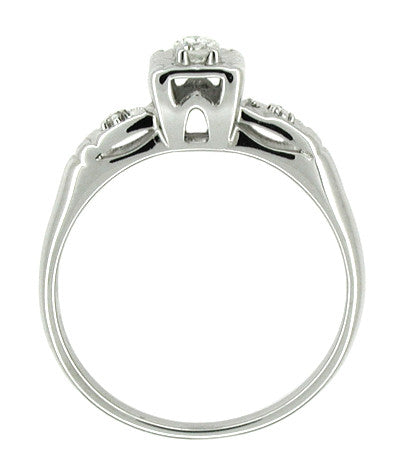 14 Karat White Gold Retro Moderne Antique Diamond Engagement Ring - Item: R216 - Image: 1